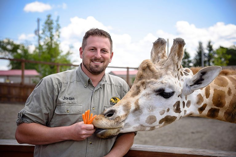 Jordan Patch feeding a giraffe